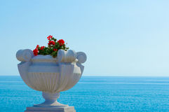 Vase with flowers. On the background of the sea Royalty Free Stock Photos