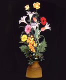 Vase of flowers on black C Royalty Free Stock Image