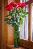 Vase with Flowers. Bouquet of roses on the windowsill. Vase with Flowers Stock Images
