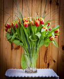 Vase with Flowers. A bouquet of tulips on the table. Vase with Flowers Royalty Free Stock Photos