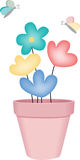 Vase of flowers with butterflies Stock Photo