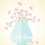 Vase flowers card with love mothers day valentines. Pink flowers in a blue vase card, with love, mothers day, valentines, wedding, flat style, caption With Love vector illustration