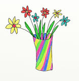 Vase with flowers - children drawing Royalty Free Stock Photography