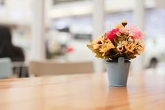 Vase of flowers on the dining table. Royalty Free Stock Photos