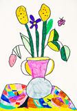 Vase with the flowers drawing royalty free stock photo