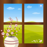 Vase with flowers in front of the window. Illustration of a vase with flowers in front of the window.At the outside there is a spring landscape.EPS file Stock Photos