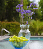 Vase with flowers and grapes by the pool Stock Image