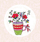 Vase and flowers greeting card Royalty Free Stock Image