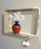 Vase of flowers on an impossible shelf Stock Image