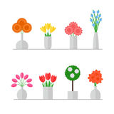 Vase of flowers. Isolated vase of flowers set on white background. Colorful flowers bouquets in grey vases. Flat style vector illustration Royalty Free Stock Photography