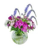 Vase with flowers isolated white background pink white purple fl. Owers. for the interior mockup stock images
