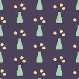 Vase with Flowers Seamless Vintage Pattern Stock Photography