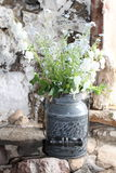 Vase of flowers on stone wall. Rustic metal vase of wildflowers sits on stone wall Stock Photos