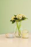 Vase of flowers and teacup in soft green pastel hues. Soft green pastel hues of vase of flowers, teacup and candle on a kitchen bench royalty free stock images