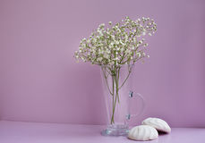 Vase with flowers and two white zephyrs. Glass vase with white flowers and two white zephyrs on pink background. Horizontal imagination Royalty Free Stock Photography