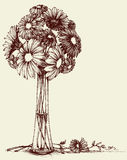Vase of flowers. Wedding bouquet sketch retro style Royalty Free Stock Photography