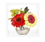 Vase with flowers, white shelf Royalty Free Stock Images