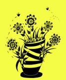 Vase of flowers in yellow stock illustration