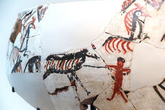 Vase fragments with neolithic hunting scene Stock Photo