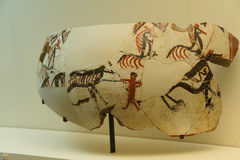 Vase fragments with neolithic hunting scene Stock Image