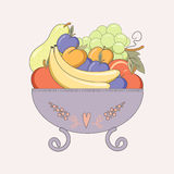 Vase with fresh fruit. Stock Photos