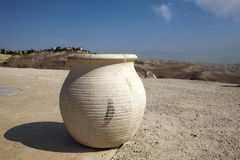 Vase in front of view of Sands of Judean Desert Stock Photos