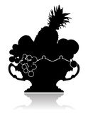Vase with Fruit. Silhouette of a graceful vase with fruit on on a white background Stock Photo