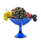 Vase with fruit. Bunches of grapes, red apples, plum, vase, drops Stock Images