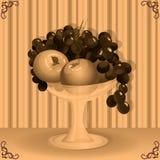 Vase with fruit. Retro style Royalty Free Stock Photos