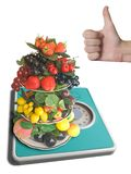 Vase with fruits on weigh-scale. 0 kilogram (isolated Royalty Free Stock Photo