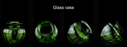 Vase. This is the glass of the green vase, the background is black, very beautiful Royalty Free Stock Photo
