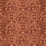 Vase gold fruits seamless (wallpaper), linear. Royalty Free Stock Photo