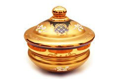 Vase with golden coating isolated Stock Photos