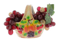 Vase with grapes Stock Images