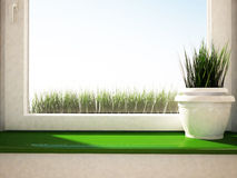 Vase with the grass on the green windowsill Stock Photography