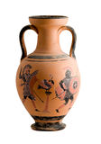 Vase with a greek historic scene. Isolated on white background Royalty Free Stock Photo