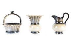 Vase, jug and sugar bowl close up isolated on white background Stock Photography