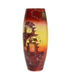 Vase made of coloured glass. With drawing in the style of Japan Royalty Free Stock Photos