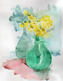 Vase with mimosa watercolor Royalty Free Stock Photos