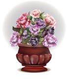Vase mit Pfingstrosen Roter schöner alter Vase für Innenraum Stockfotos
