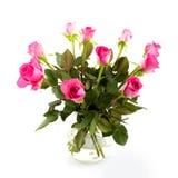 Vase mit rosafarbenen Rosen lizenzfreie stockfotos