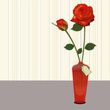 Vase mit Rosengeschenk Stockfotografie