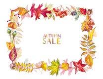 Vase mit trockenen Blättern, Apfel und Kerzen auf dem Rausschmiß Feld gemacht von den Herbstbeeren und -blättern auf weißem Hinte Stockbild