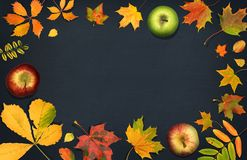 Vase mit trockenen Blättern, Apfel und Kerzen auf dem Rausschmiß Saisonfrüchte mit Fall verlässt auf dunklem Hintergrund Herbsthi Stockfotografie