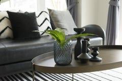 Vase moderne et feuille verte sur la table centrale avec les oreillers noirs et blancs sur le sofa Photographie stock