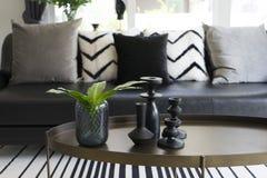 Vase moderne et feuille verte sur la table centrale avec les oreillers noirs et blancs sur le sofa Photo libre de droits