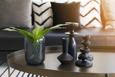 Vase moderne et feuille verte sur la table centrale avec les oreillers noirs et blancs sur le sofa Images stock