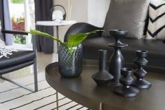 Vase moderne et feuille verte sur la table centrale avec les oreillers noirs et blancs sur le sofa Photo stock