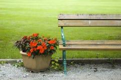 Vase nad bench Royalty Free Stock Image