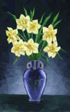 Vase with Narcissus Flowers Royalty Free Stock Photo